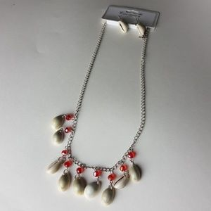 New Red Shell Necklace + Earrings